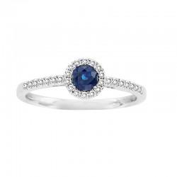 0.25ct saphire & 0.15 diamond prg ring, 14kw, size 7