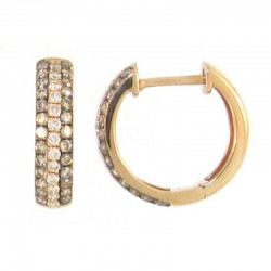 14Kr Mocha & Wht Diamond Huggie Earrings Md=.40Ctw Wd=.19Ctw