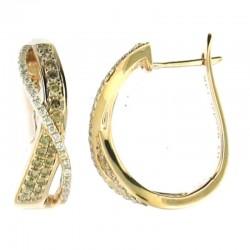 14kr 0.58cttw prg rd white & chamgagne diamond earring