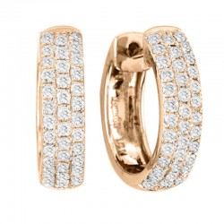 0.60cttw diamond 3 row huggie earrings