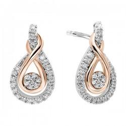 Diamond Swirling Cluster Love Knot Earrings in 14k Yellow Gold &  Sterling Silver  1/5 ctw)