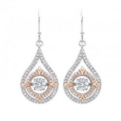 Diamond Solitaire Double Halo Fleur-de-Lis Dangle Earrings in Sterling Silver