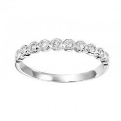 Diamond 1/4 Eternity Bezel Bubble Stackable Band in 14k White Gold