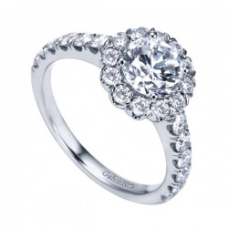 Gabriel & Co White Gold Contemporary Halo Engagement Ring