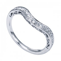 Gabriel & Co 14K White Gold Victorian Curved Wedding Band