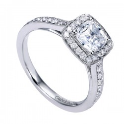 Gabriel & Co White Gold Victorian Halo Engagement Ring