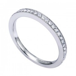Gabriel & Co 14K White Gold Victorian Straight Wedding Band
