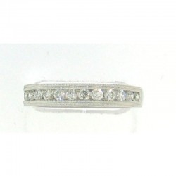 14KW 14 STONE WHITE DIAMOND BAND RING W/MILGRAIN .45CT TW