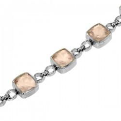 Sterling silver rose quartz bracelet