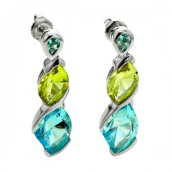 Sterling silver lemon quartz and blue topaz doublee marquise earrings