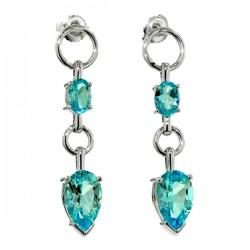 Sterling silver and blue topaz dangle earrings