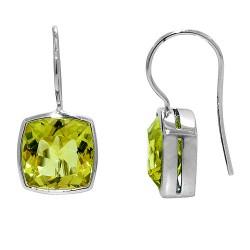 Sterling silver and lemon quartz earrings