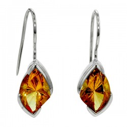 Sterling silver marquise shaped citrine earrings