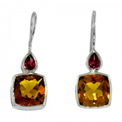 Sterling silver citrine and garnet earrings