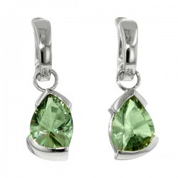 Sterling silver and green amythst dangle earrings