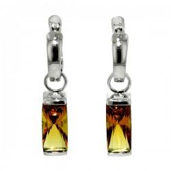 Sterling silver smokey quartz rectangular earrings