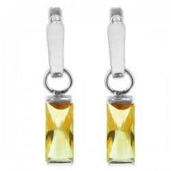 Sterling silver cirine rectangular earrings