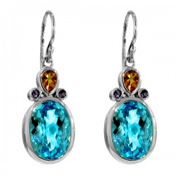 Sterling silver blue topaz and citrine earrings
