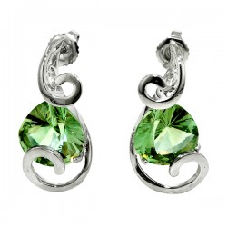 Sterling silver and green amythst swirl earrings