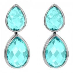 Sterling silver blue topaz pear shaped dangle earrings