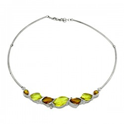 Sterling silver smokey and lemon quarts necklace