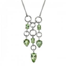 Sterling silver green amethyst triple dangle pendant