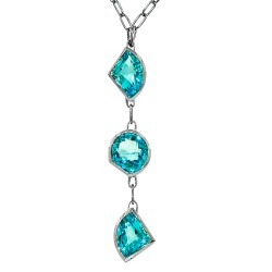 Sterling silver and blue topaz three stone necklace