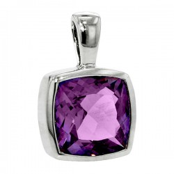 Sterling silver amethyst squarependant