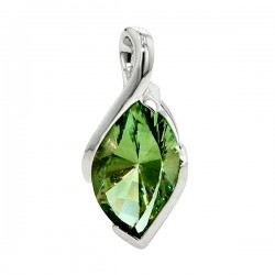 Sterling silver marquise green amethyst pendant