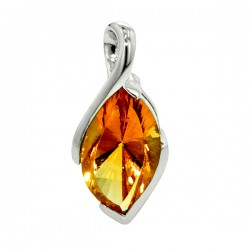 Sterling silver marquise shaped citrine pendant