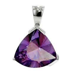 Sterling silver and triangular amethyst pendant