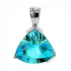 Sterling silver blue topaz triangular pendant