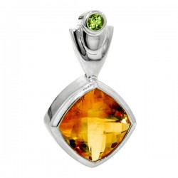 Sterling silver citrine and peridot pendant