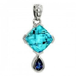 Sterling silver and blue topaz and iolite pendant