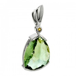 Sterling silver green amethyst and citrine pendant