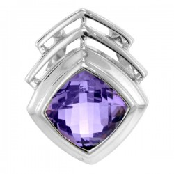 Sterling silver squareamethyst pendant