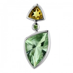 Sterling silver green amythst and citrine pendant