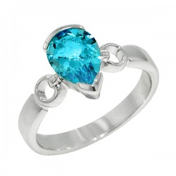 Sterling silver blue topaz ring pear shaped