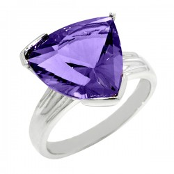 Sterling silver triangular amethyst rings