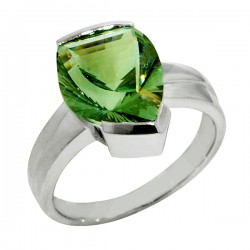 Sterling silver and green amthst ring