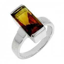 Sterling silver rectgular smokey quartz ring