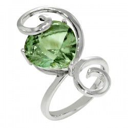 Sterling silver and green amythst swirl ring