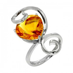 Sterling silver and citrine swirl ring