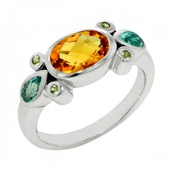 Sterling silver citrine and green amethyst ring