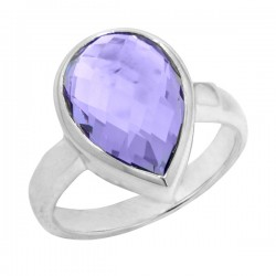 Sterling silver pear shaped amethyst ring