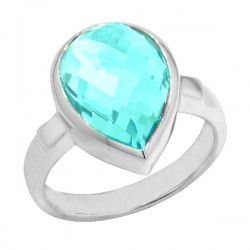 Sterling silver blue topaz pear shaped ring