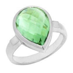 Sterling silver and pear shaped green amethyst ring