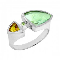 Sterling silver green amythst and citrine ring