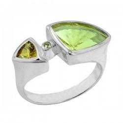 Sterling silver lemon quartz and citrine ring