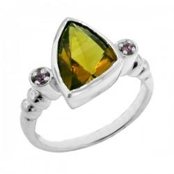 Sterling silver smokey quartz and amethyst ring